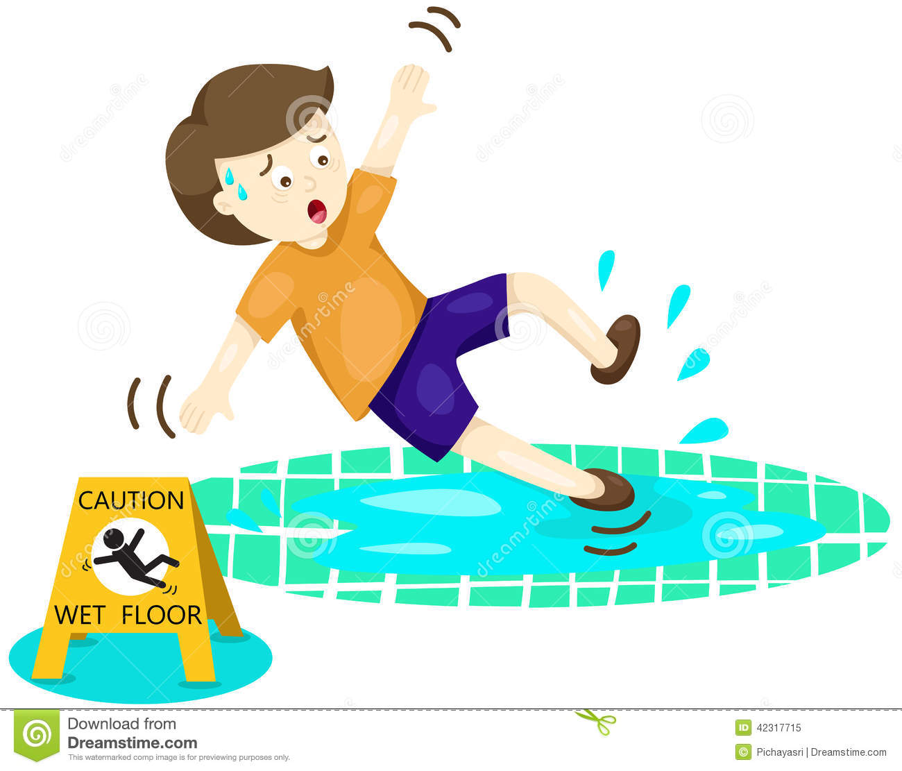Boy Falling On Wet Floor Stock Vector Illustration Of