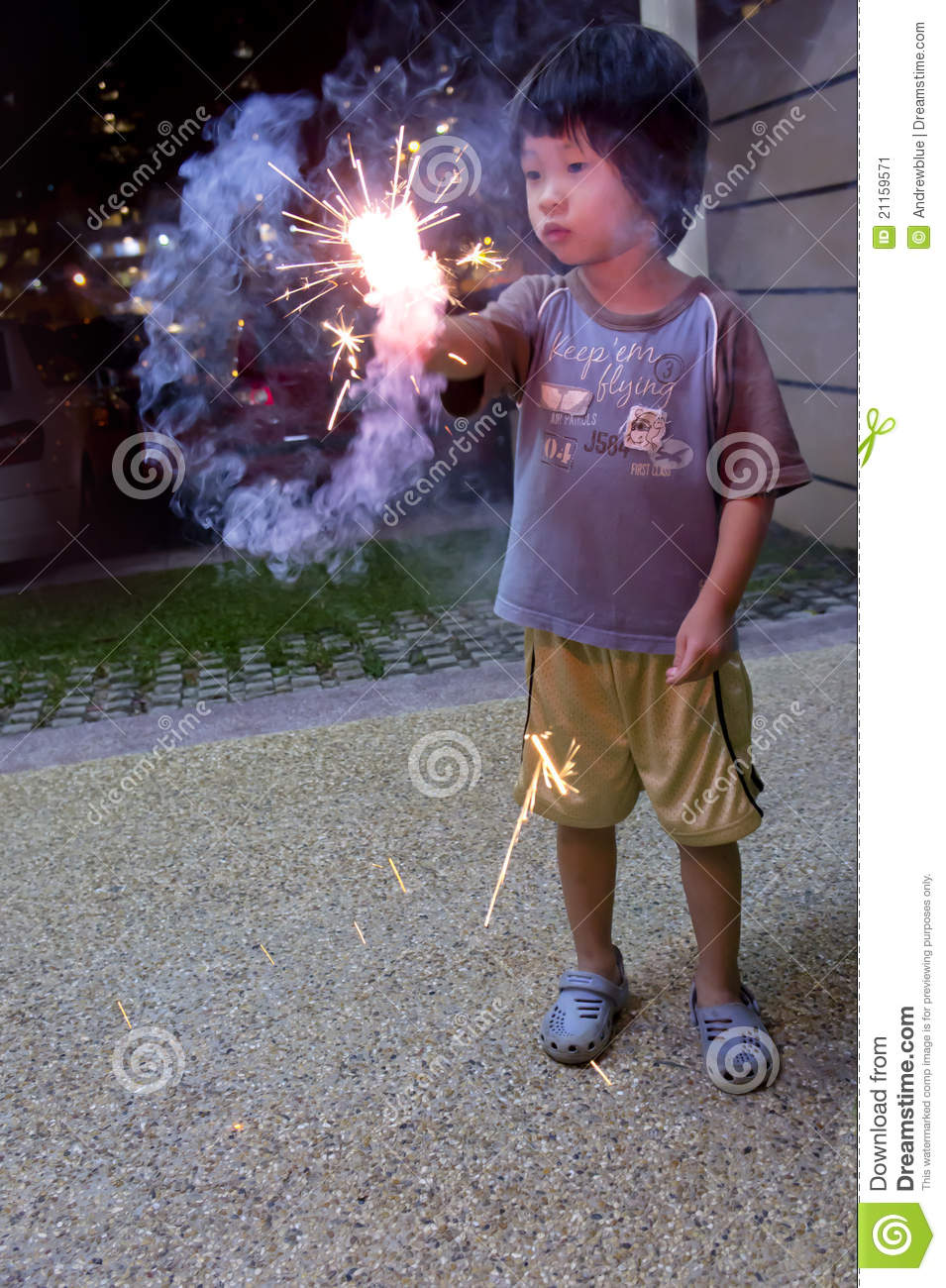 Boy With Fire Crackers Stock Image Image 21159571