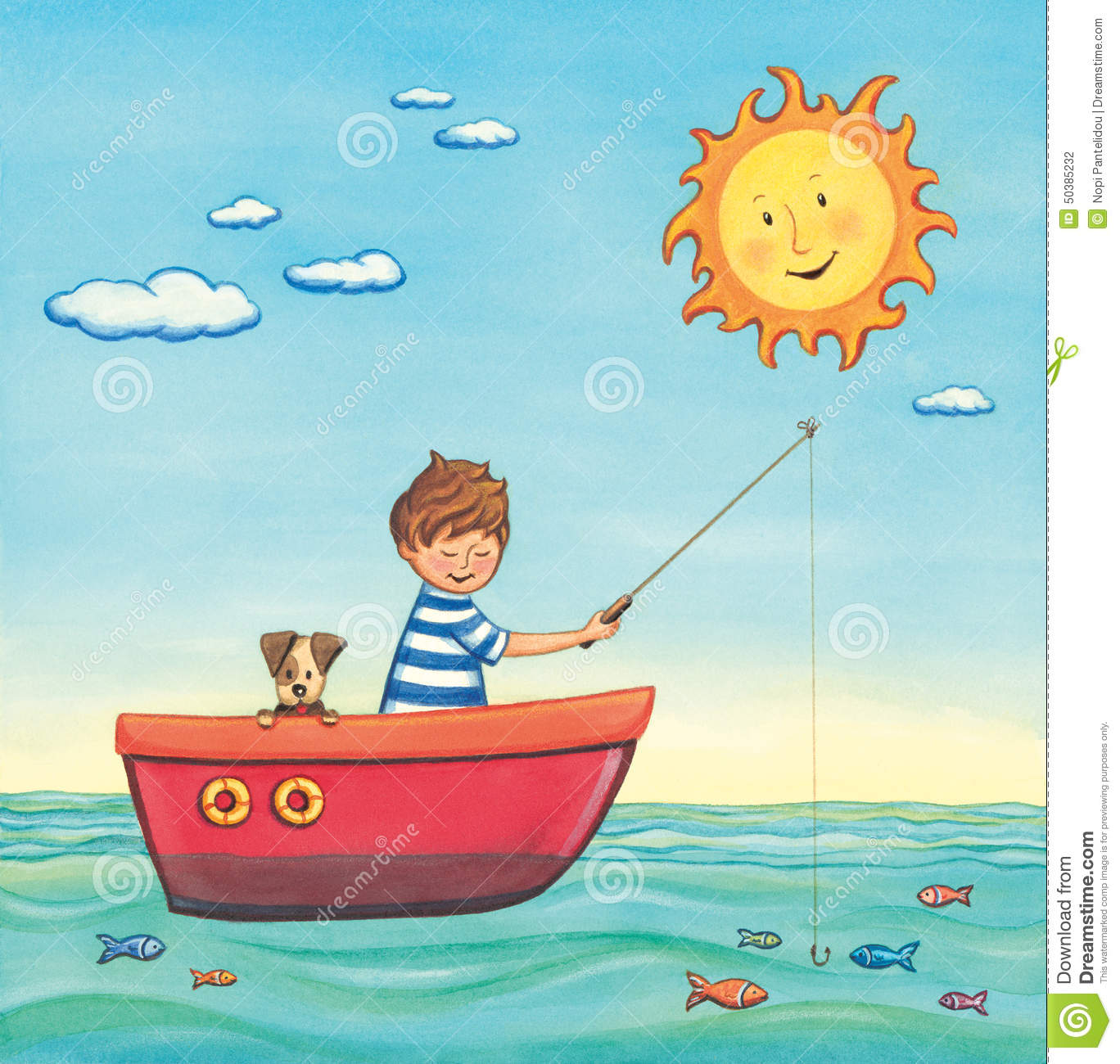 Boy fishing in a boat with his dog on a summer sunny day. Watercolor ...