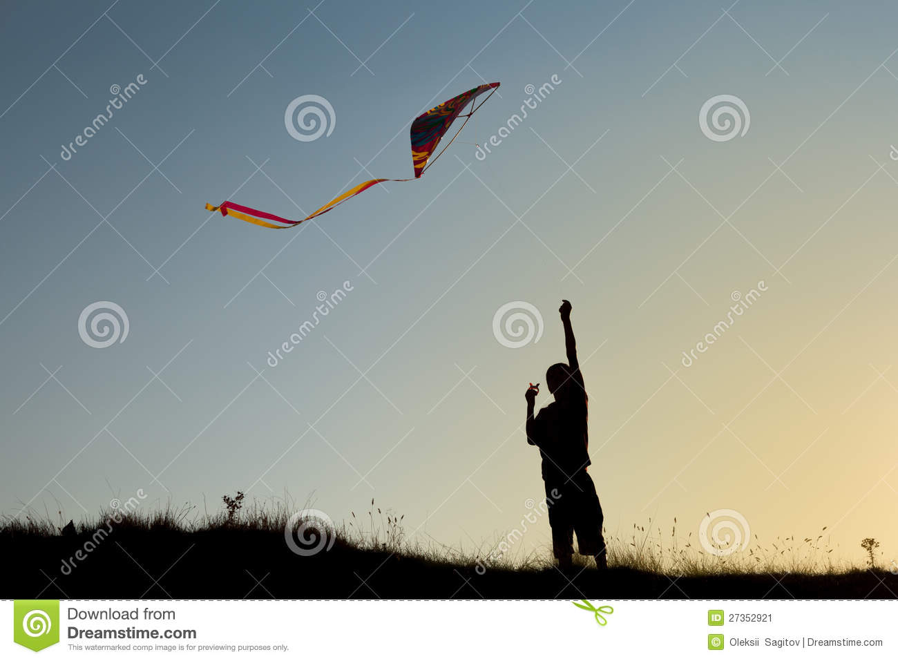 A boy flies a kite stock image  Image of energy, lifestyle - 27352921