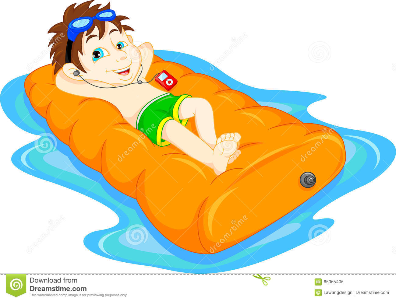 The Boy Floating On Inflatable, Summer Vacation Fun Stock