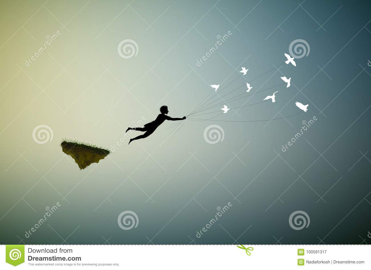 Boy is flying away and holding pigeons, fly in the dream land,fly away, shadows,