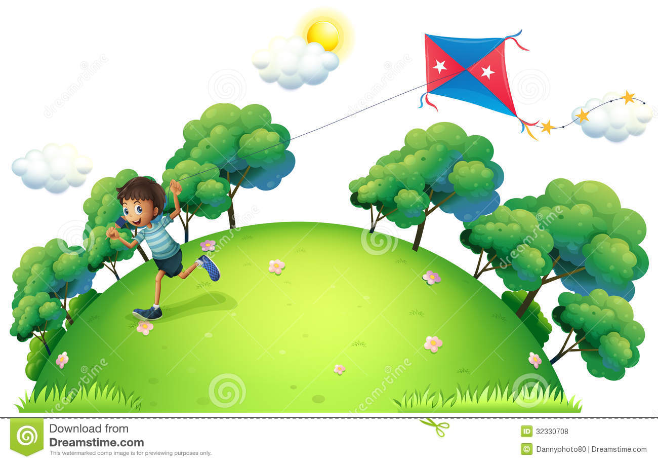 A boy flying a kite