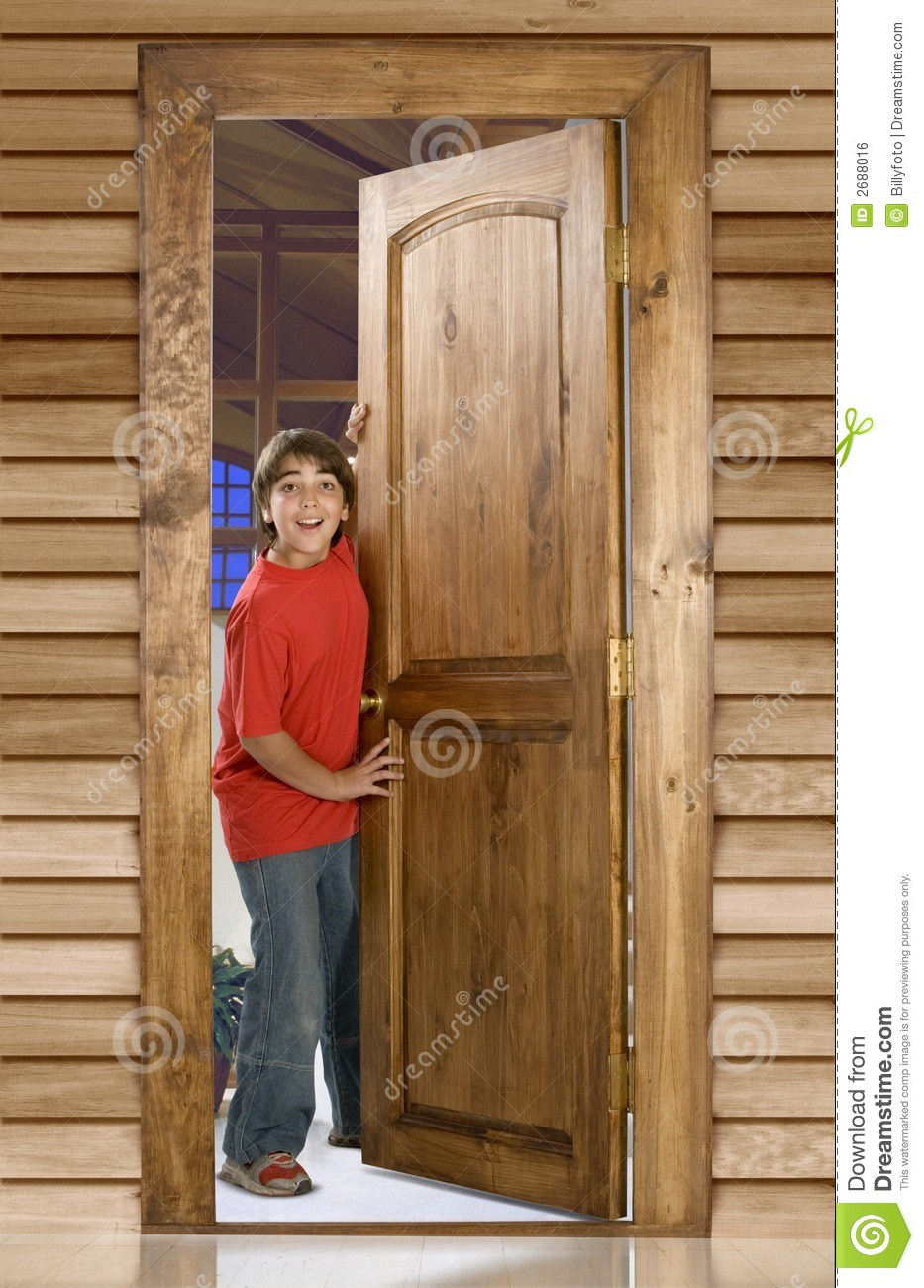 Boy At Front Door Royalty Free Stock Image Image 2688016