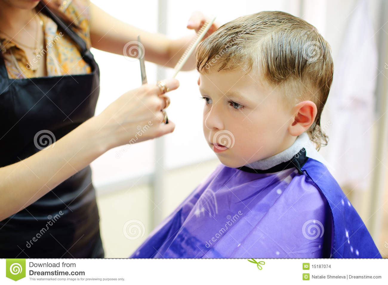 Boy Getting Haircut Stock Images Image 15187074