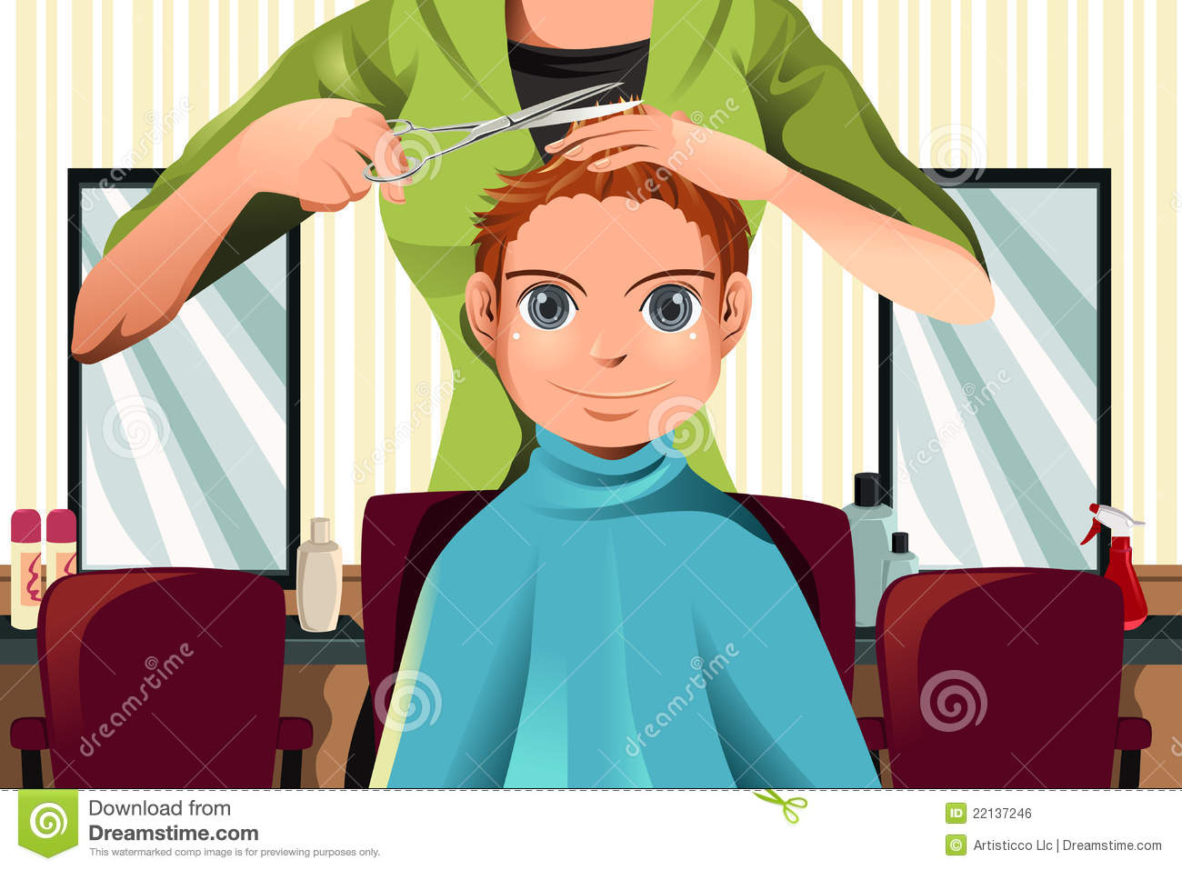 Boy Getting A Haircut Stock Vector Illustration Of Vector