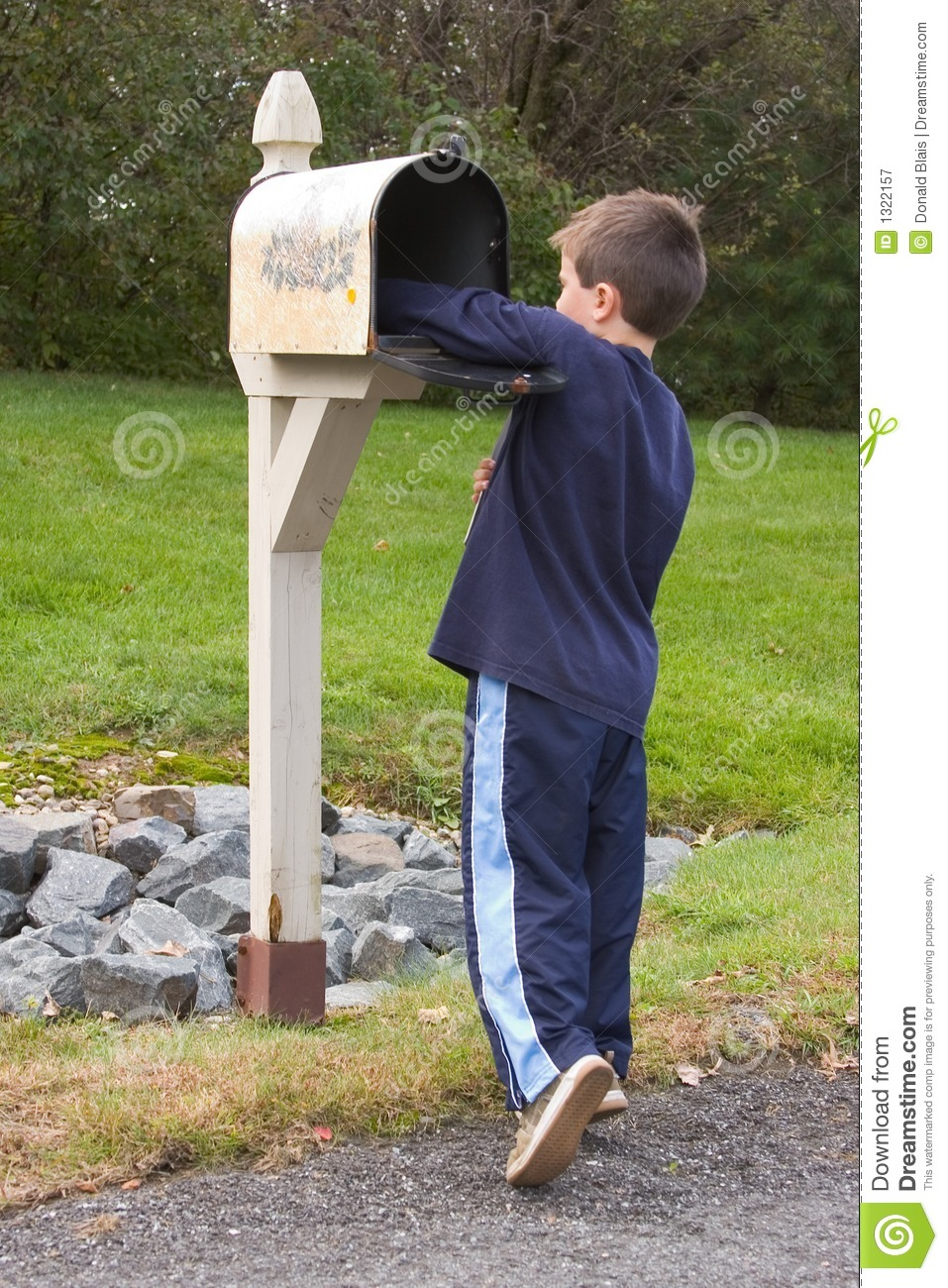Boy Getting Mail Stock Image. Image Of Mailbox, Postal