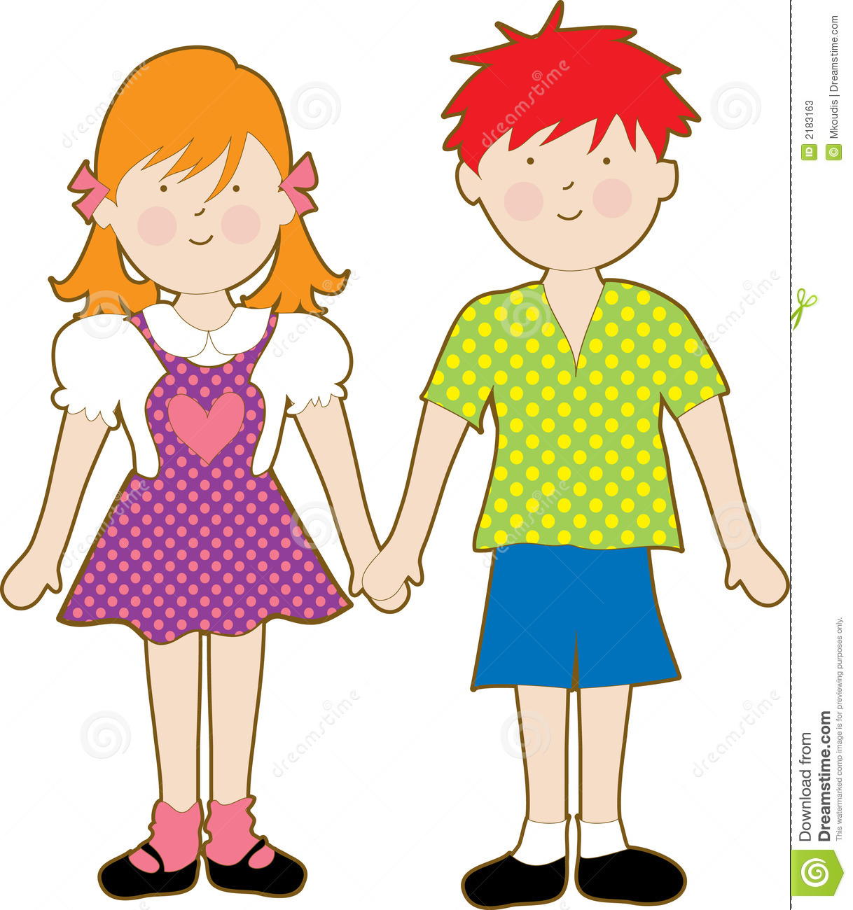 boy and girl stock vector illustration of kids holding 2183163