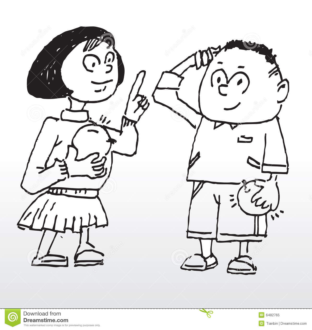 Boy and girl stock vector. Illustration of clean ...