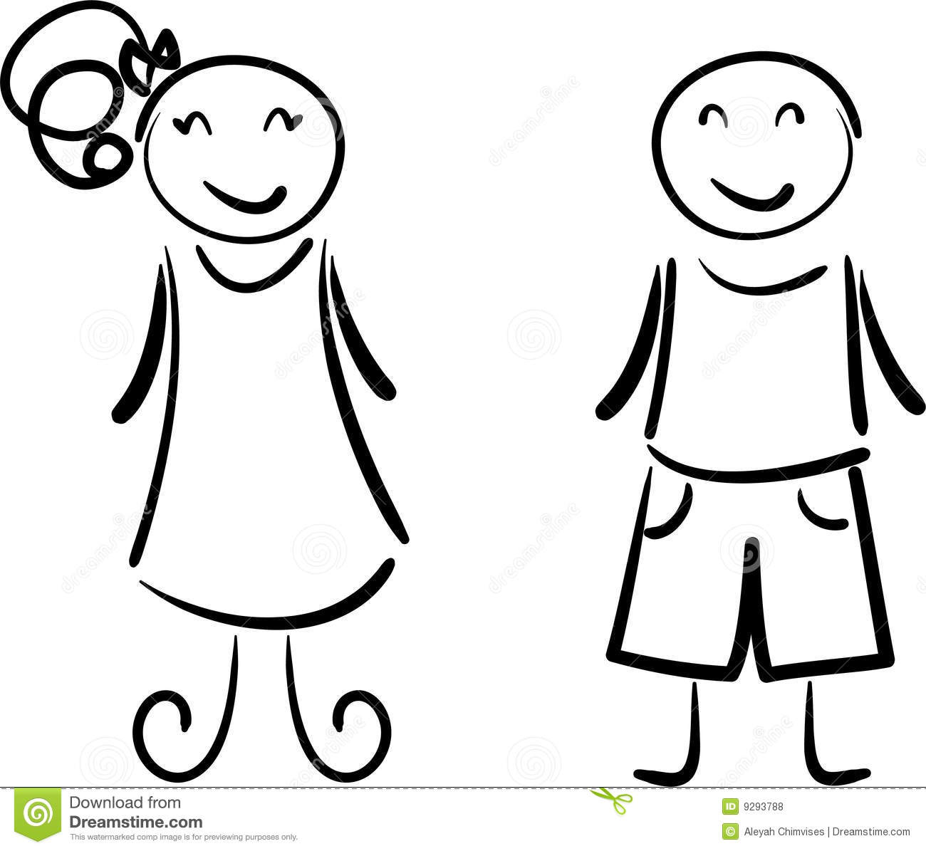 Simple drawing of happy boy and girl