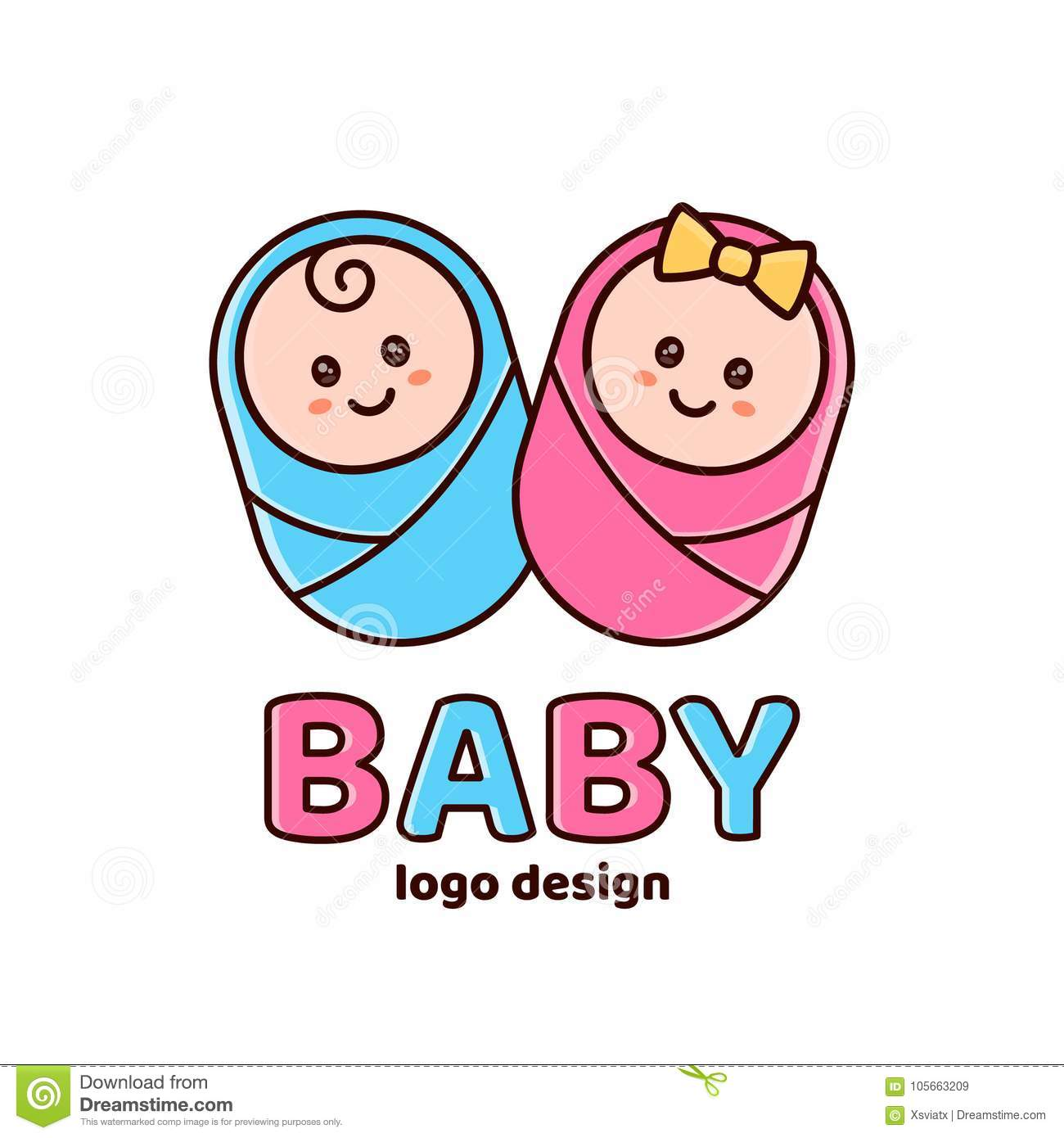 Boy And Girlby Showernewborn Logo Stock Vector Illustration Of