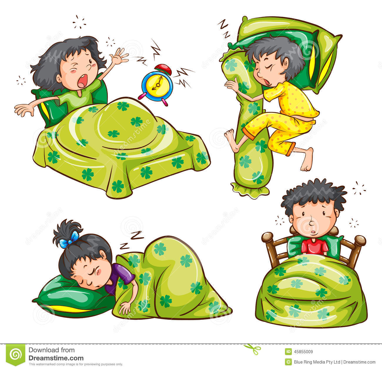 Boy and girl in bed stock vector illustration of for Boys and girls in bed