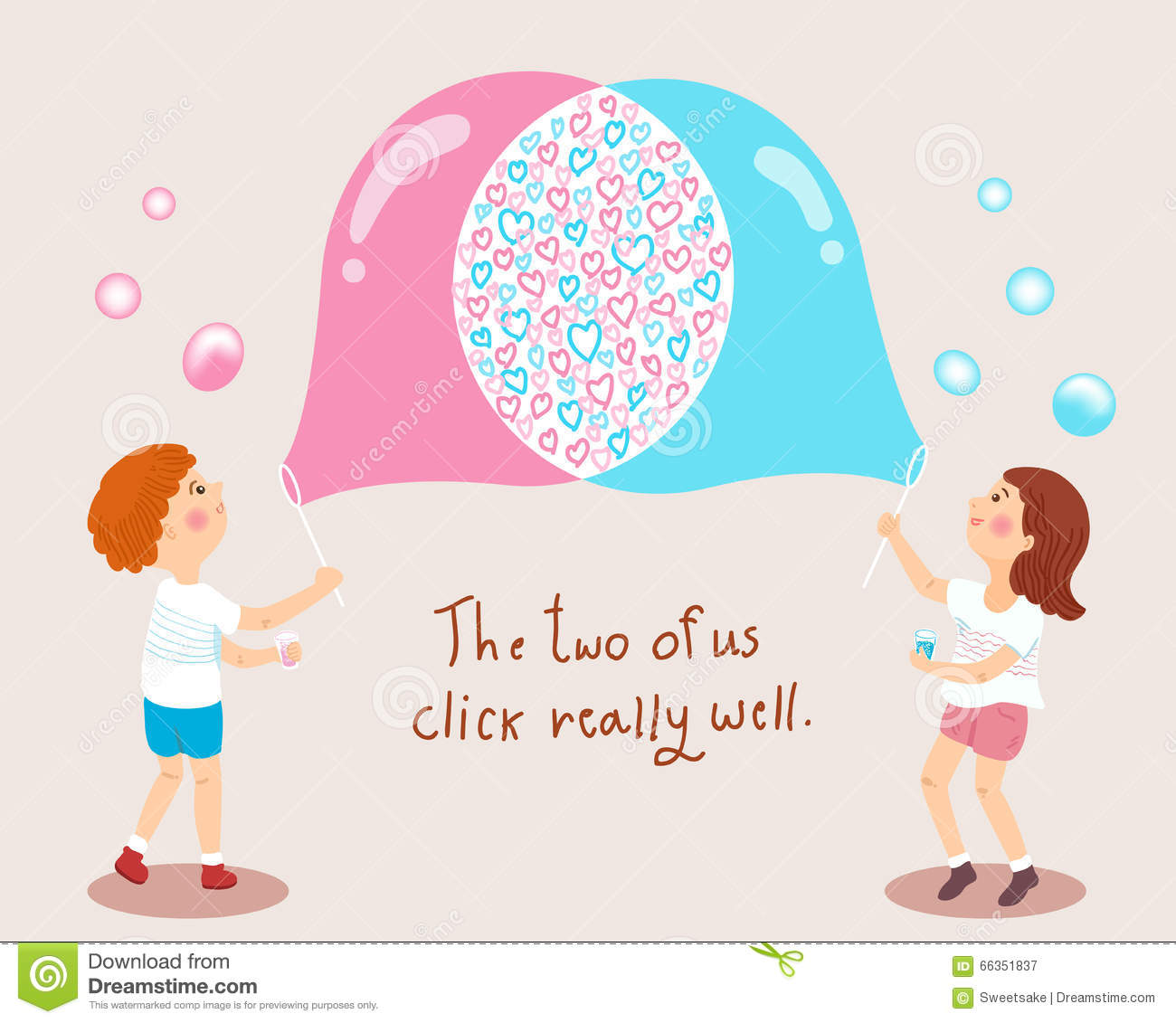 Boy and girl blowing soap bubbles love concept illustration