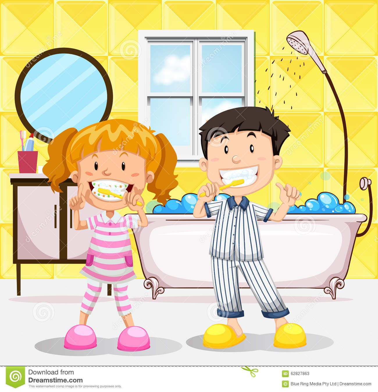 Bathroom drawing for kids - Boy And Girl Brushing Teeth In The Bathroom