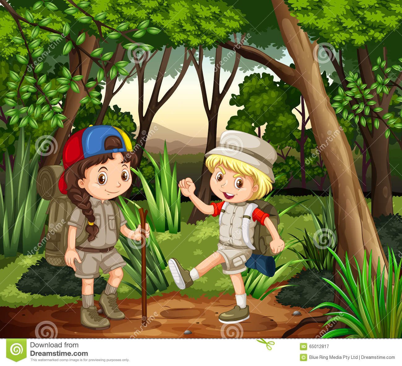 Download Boy And Girl Camping In The Woods Stock Vector