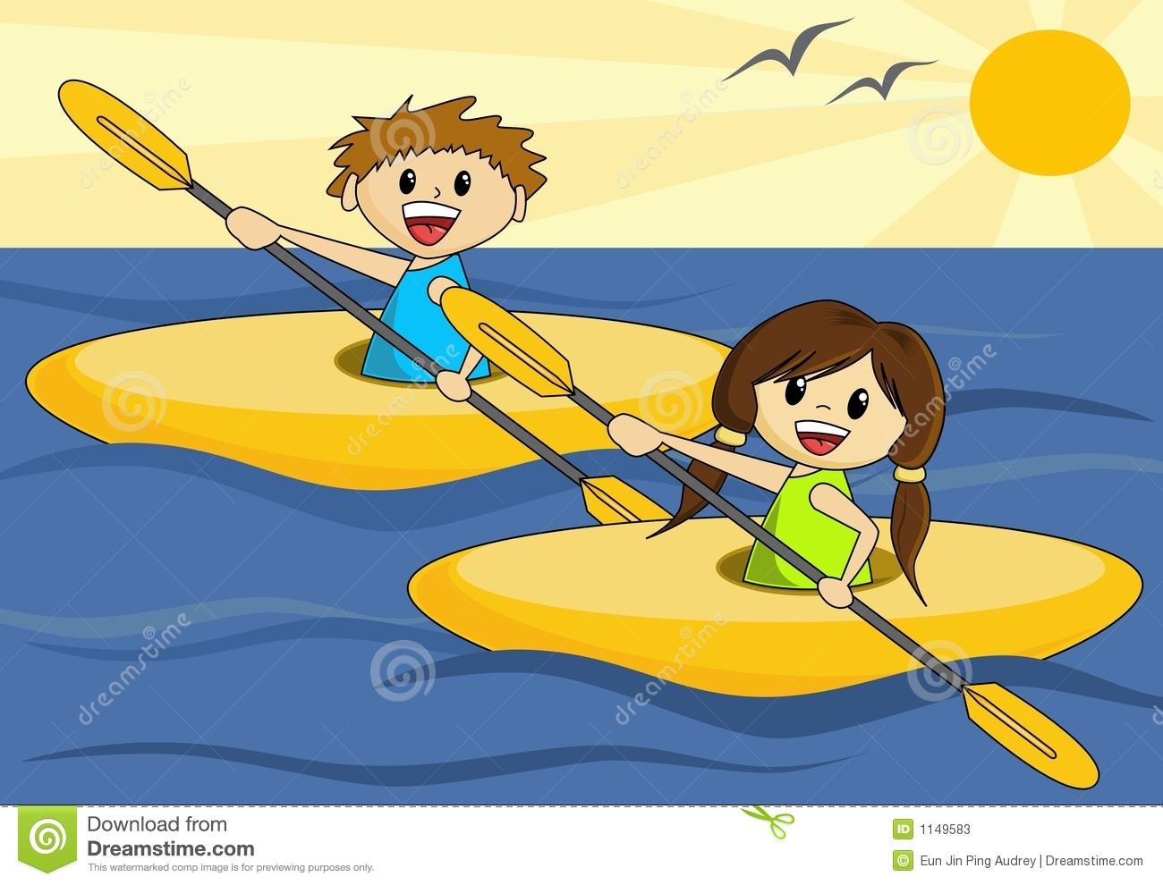 Boy And Girl In Canoes Stock Photos - Image: 1149583
