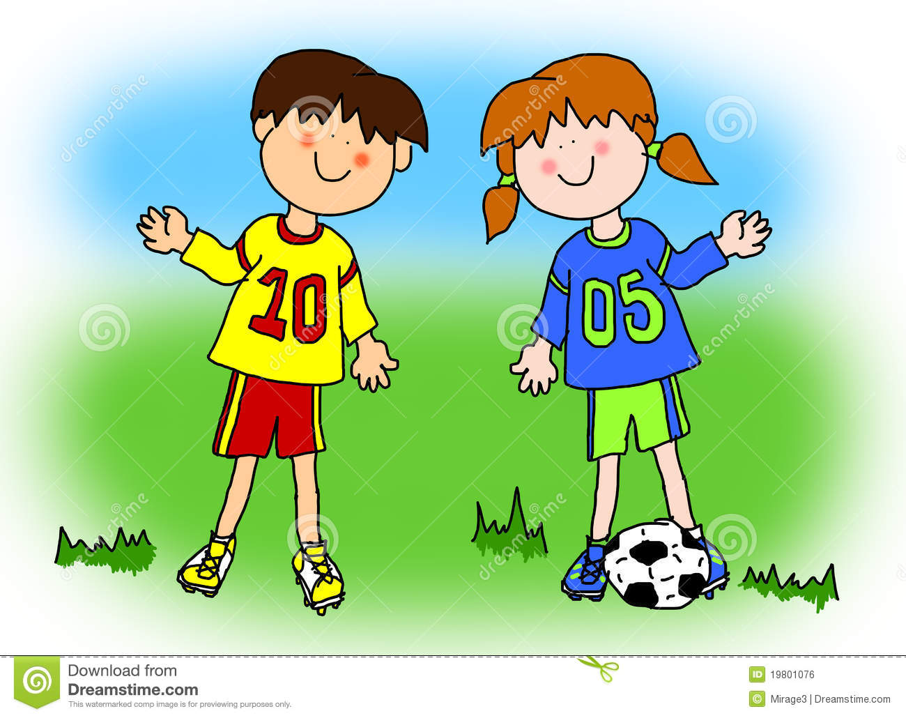 boy and girl cartoon soccer player royalty free stock