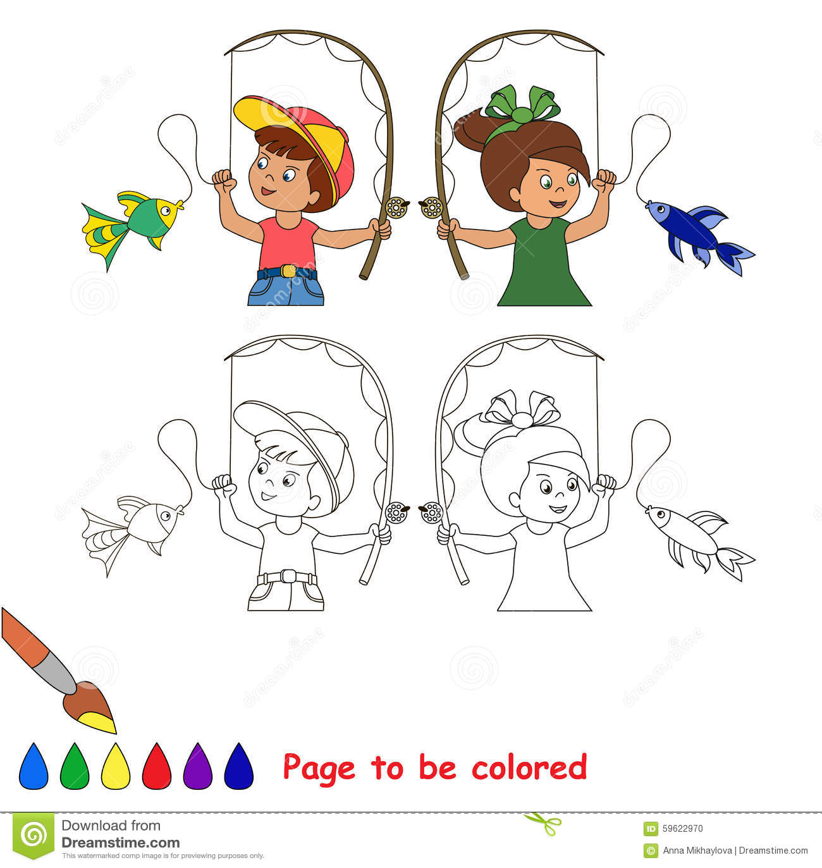 Boy Fishing Fish Coloring Page Stock Illustration - Illustration of ...
