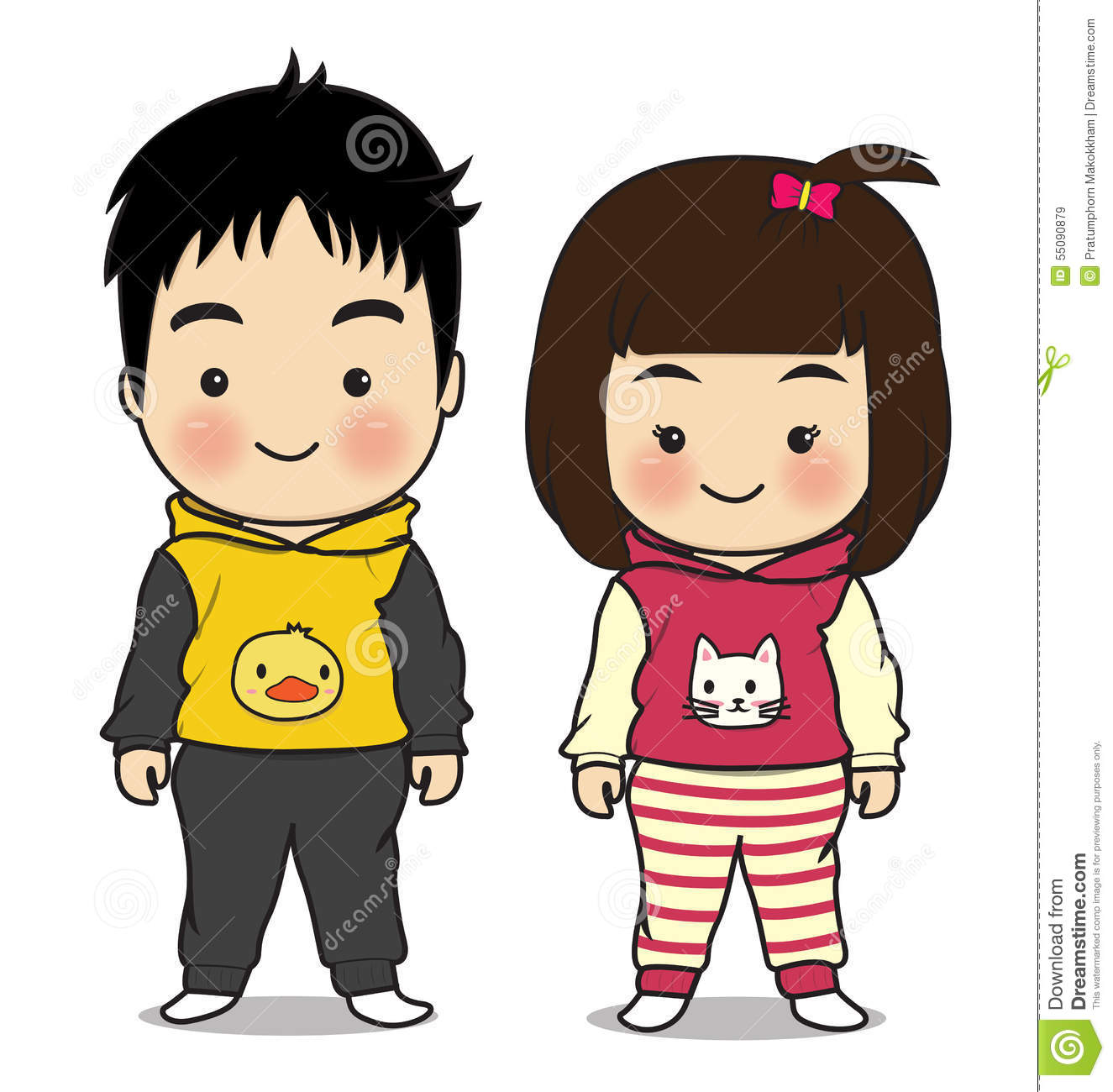 Cute girl and boy animated images