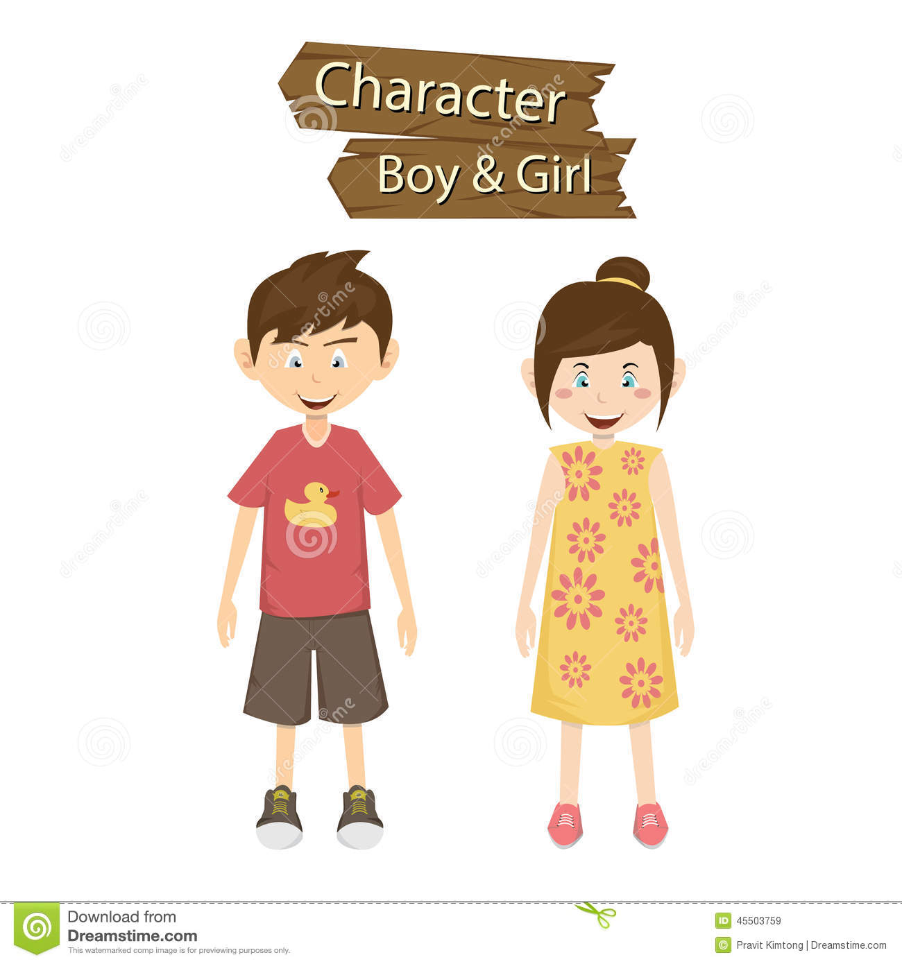 Boy And Girl Character Vector Illustration Stock Vector