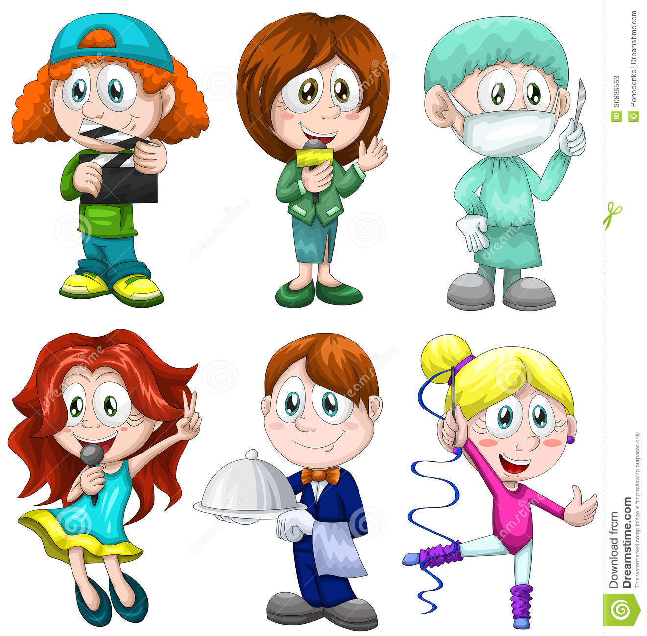 Stock photos boy girl child profession clipart cartoon style ve