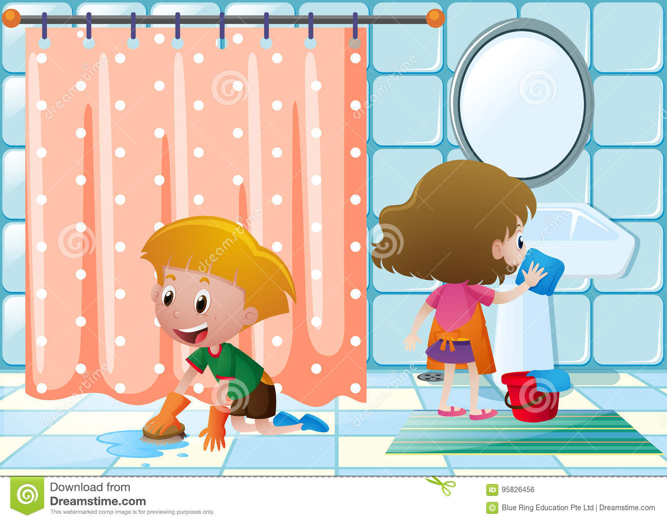 Boy And Girl Cleaning Bathroom Stock Vector Illustration
