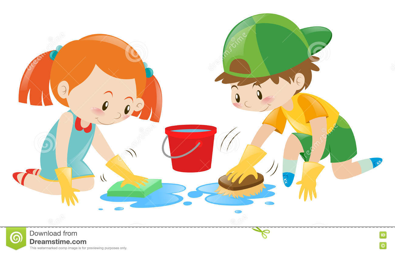 Boy And Girl Cleaning The Floor Stock Vector Illustration Of