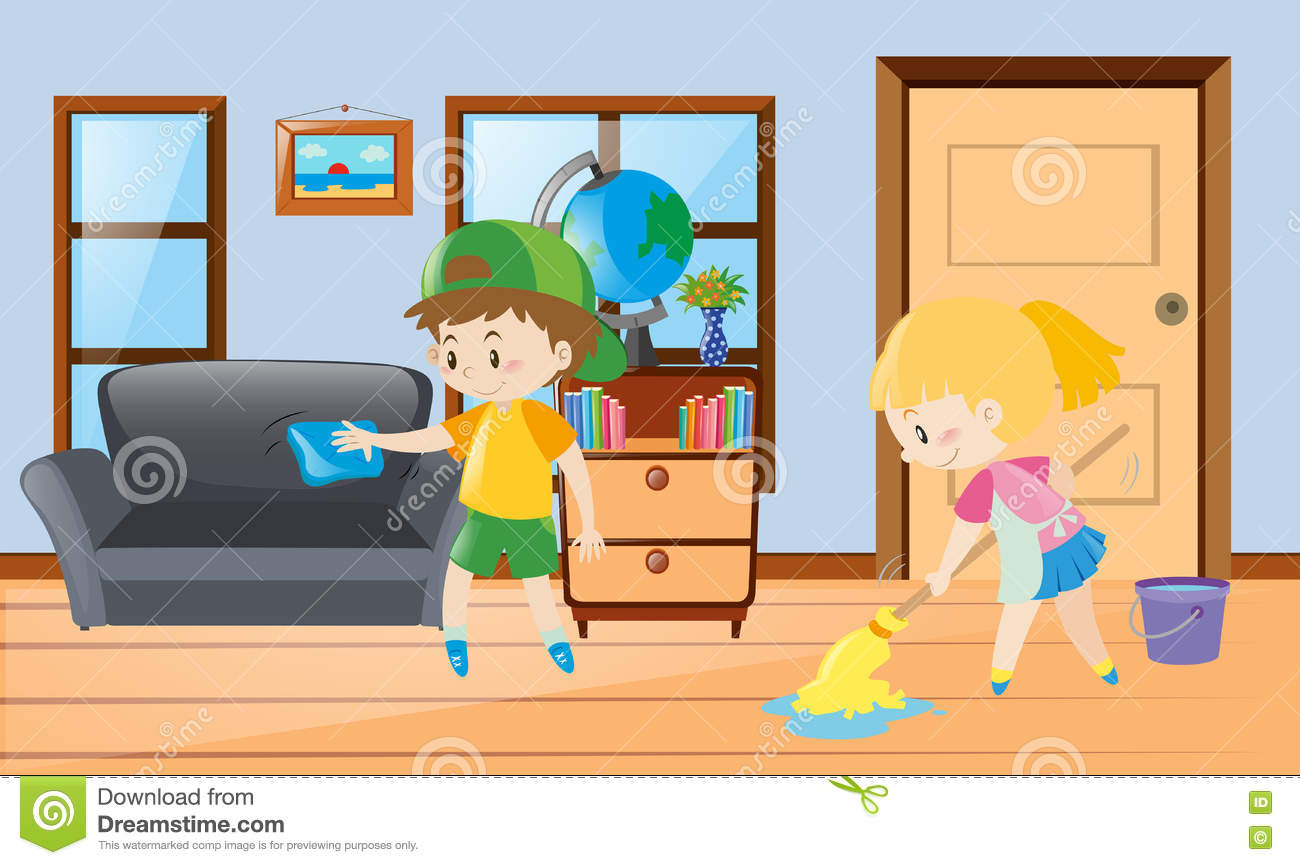 Cleaning The House boy and girl cleaning the house stock illustration - image: 78803856
