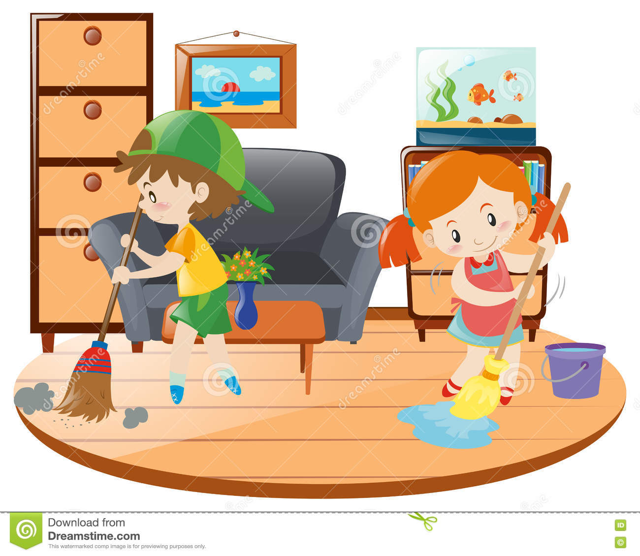Living Room Clip Art: Boy And Girl Cleaning Living Room Stock Vector
