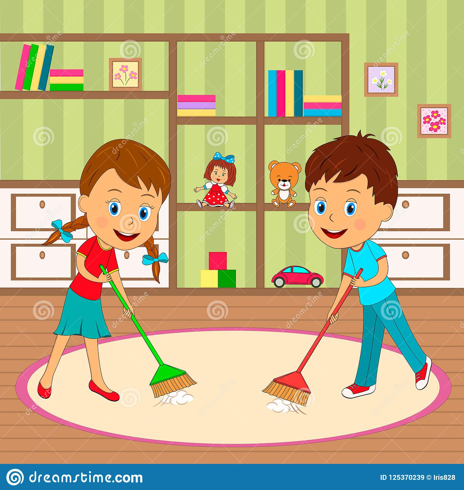 Boy And Girl Are Cleaning Room Stock Vector - Illustration ...