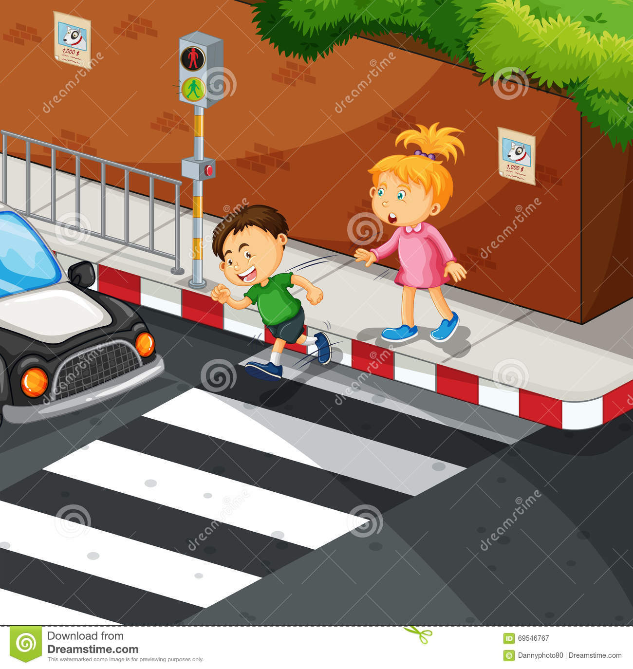 Boy And Girl Crossing The Road Cartoon Vector