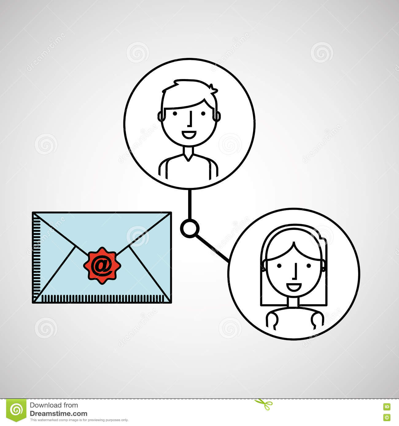 Boy And Girl Draw Email Social Media Stock Vector Illustration Of