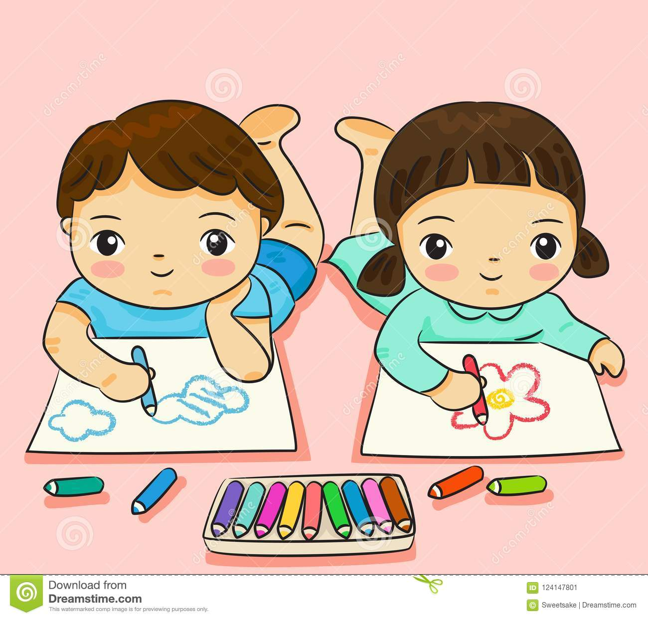 Boy and girl drawing with colorful on paper vector illustration