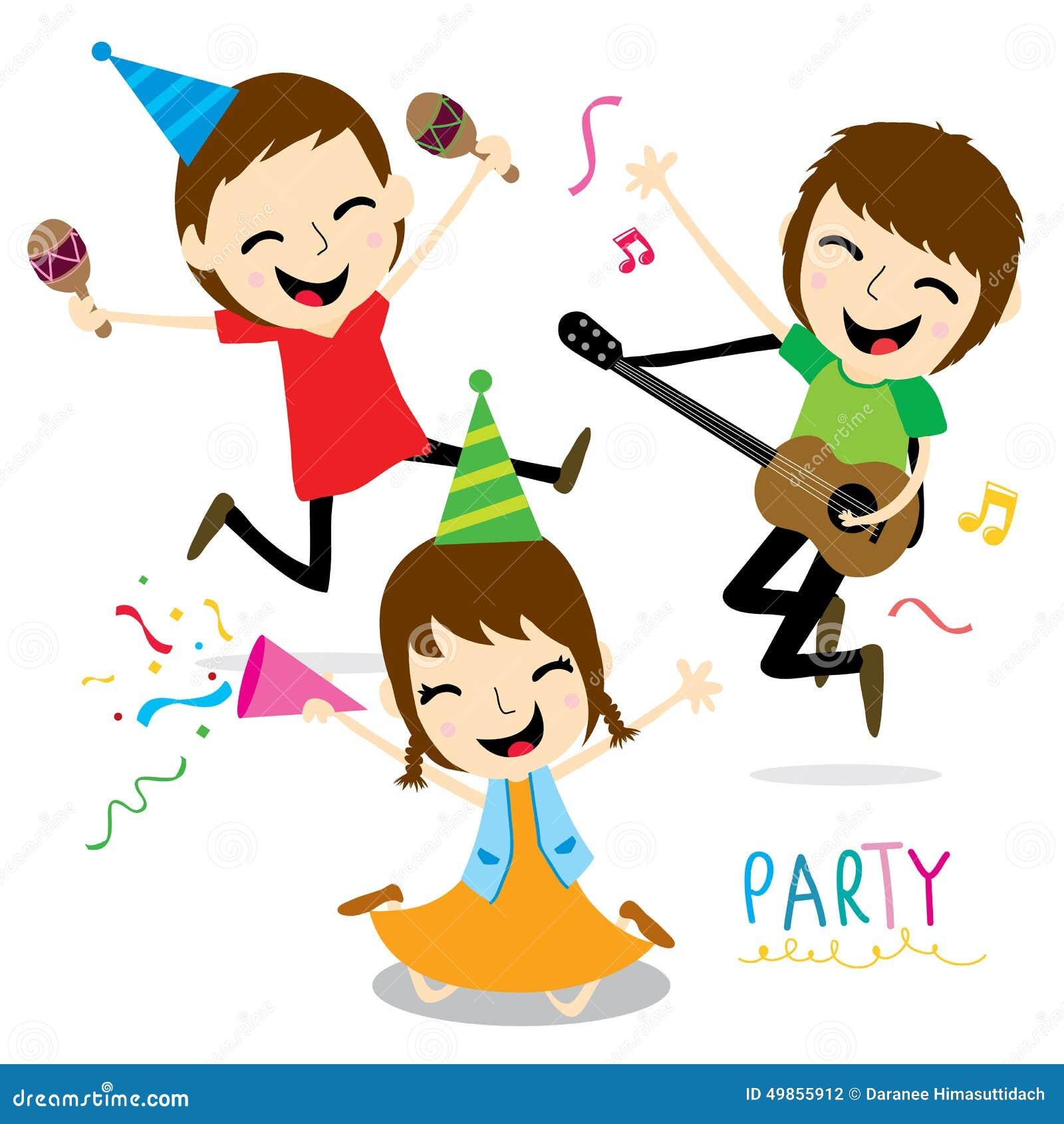 Boy And Girl Enjoy Party Cute Cartoon Vector Stock Vector