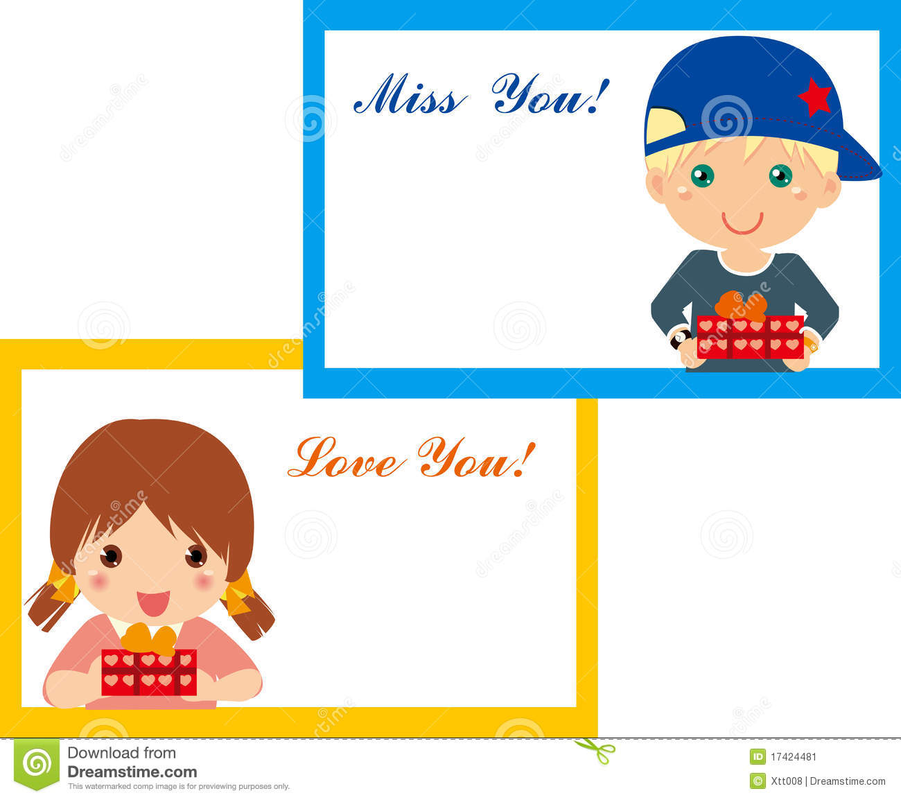 Boy And Girl Frame Stock Vector Illustration Of Happy 17424481