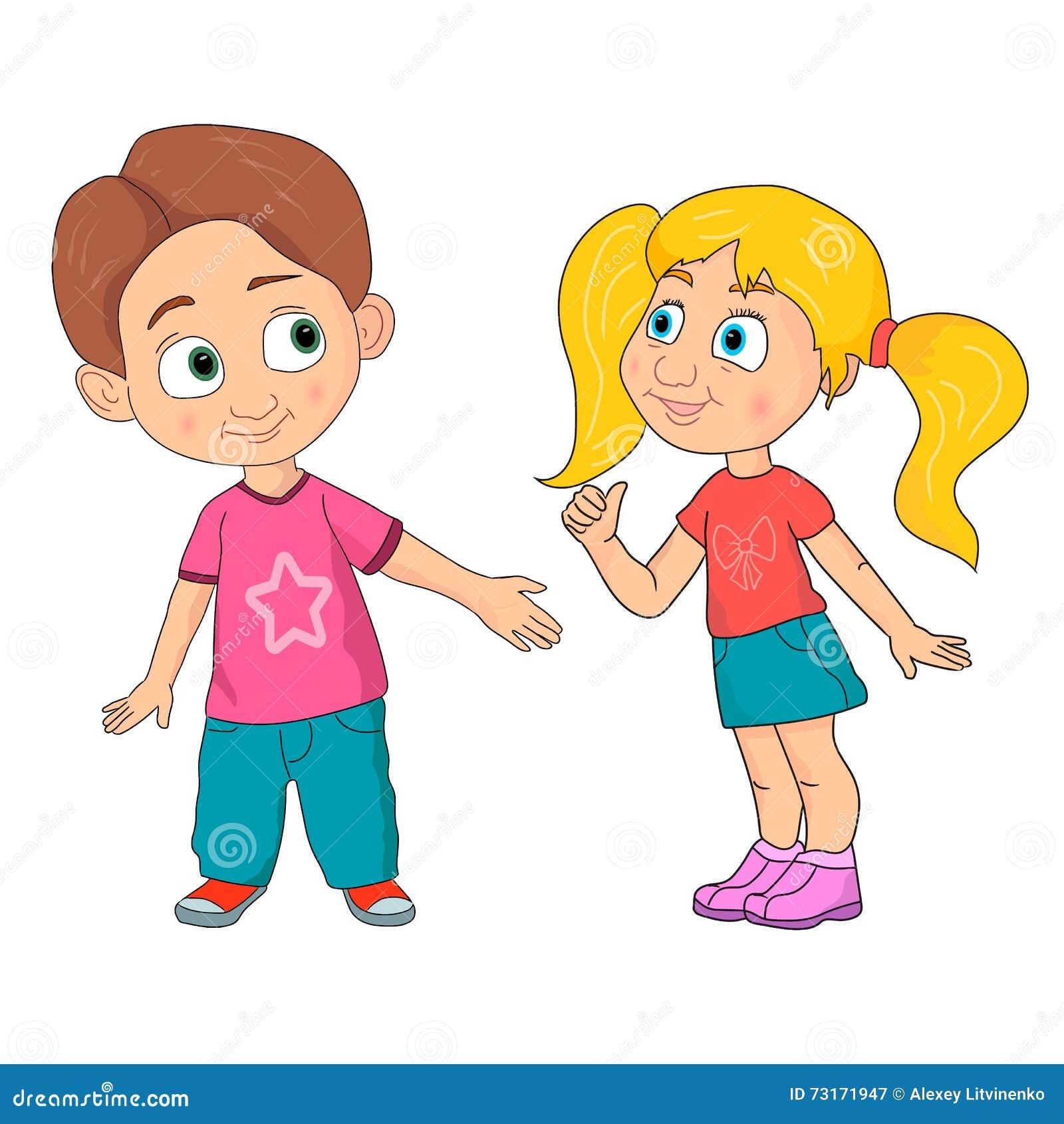 cartoon girl and boy