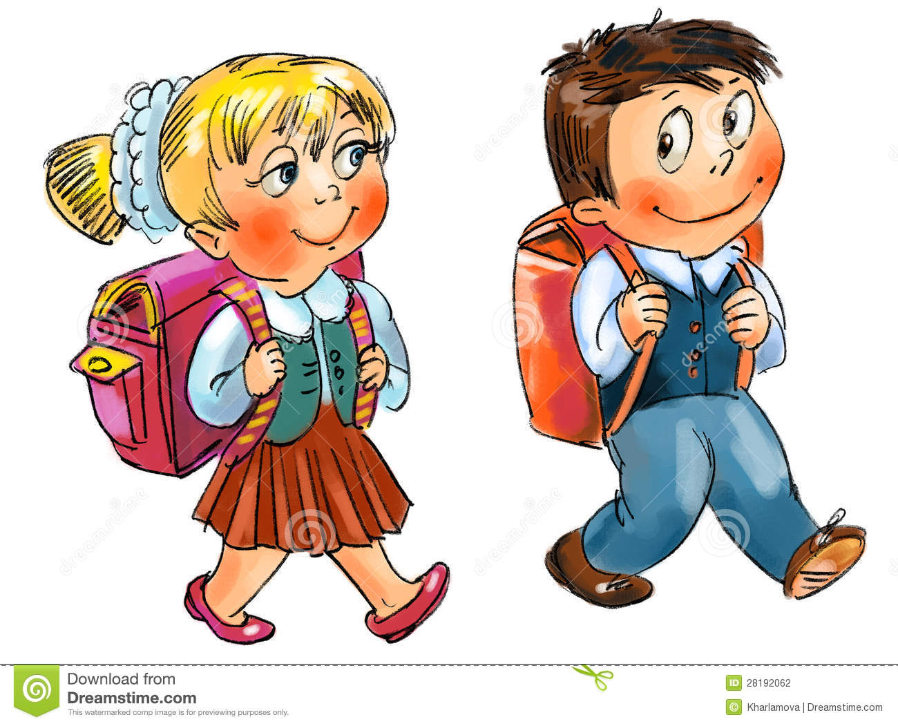 Go To School Clip Art Cute boy go to school stock photo - image ...