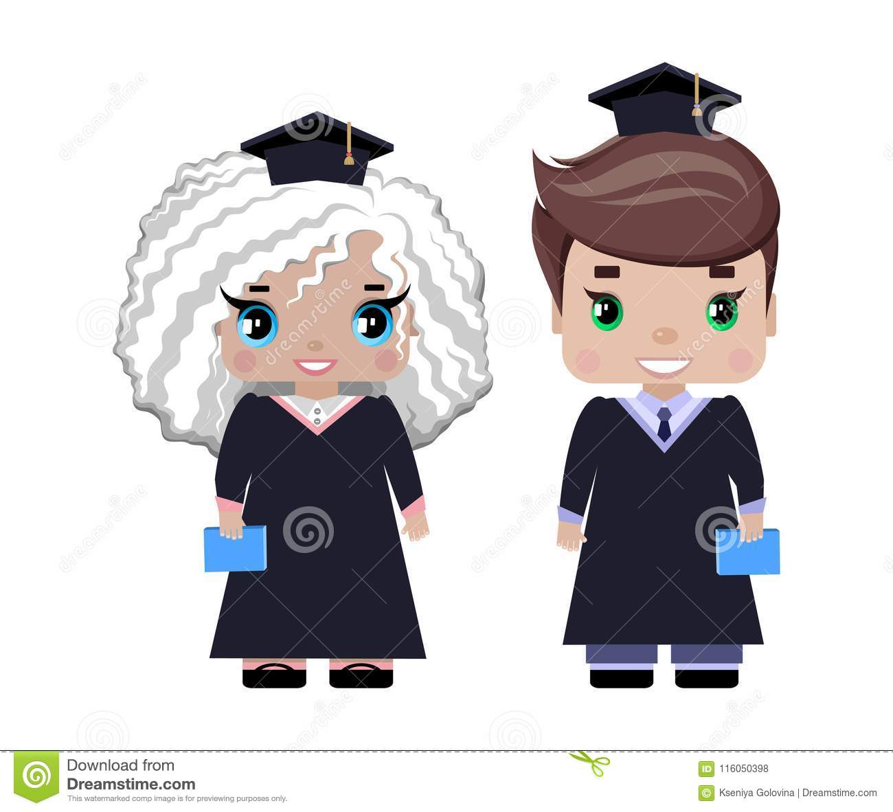 Boy And Girl Graduates In Graduation Caps And Gowns Stock Vector ...
