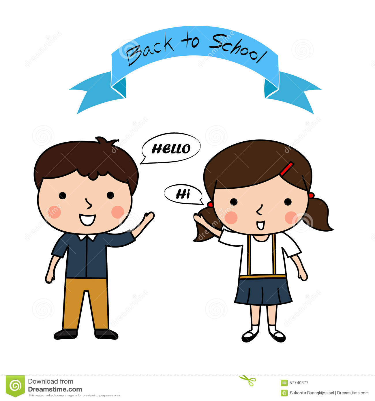 Stock Vector: Boy and girl greet say hello , back to school
