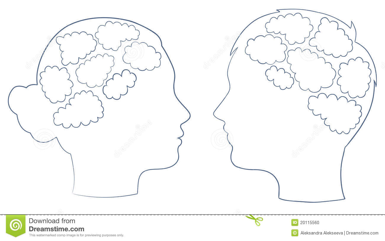 boy and girl head with thought template stock vector illustration