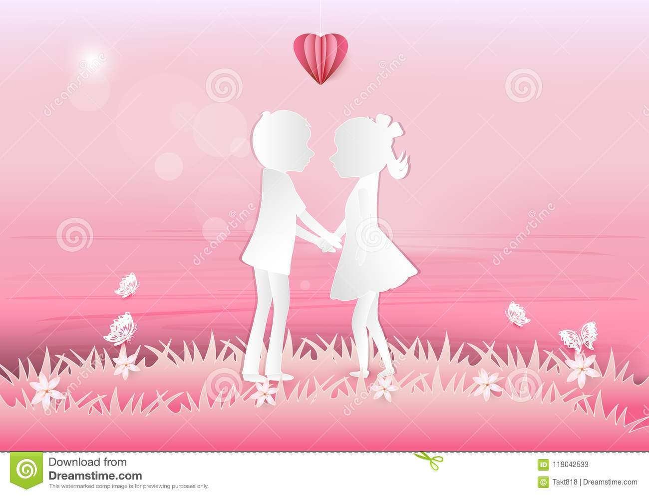 Boy And Girl With Heart Valentine Pink Background Paper Art Style