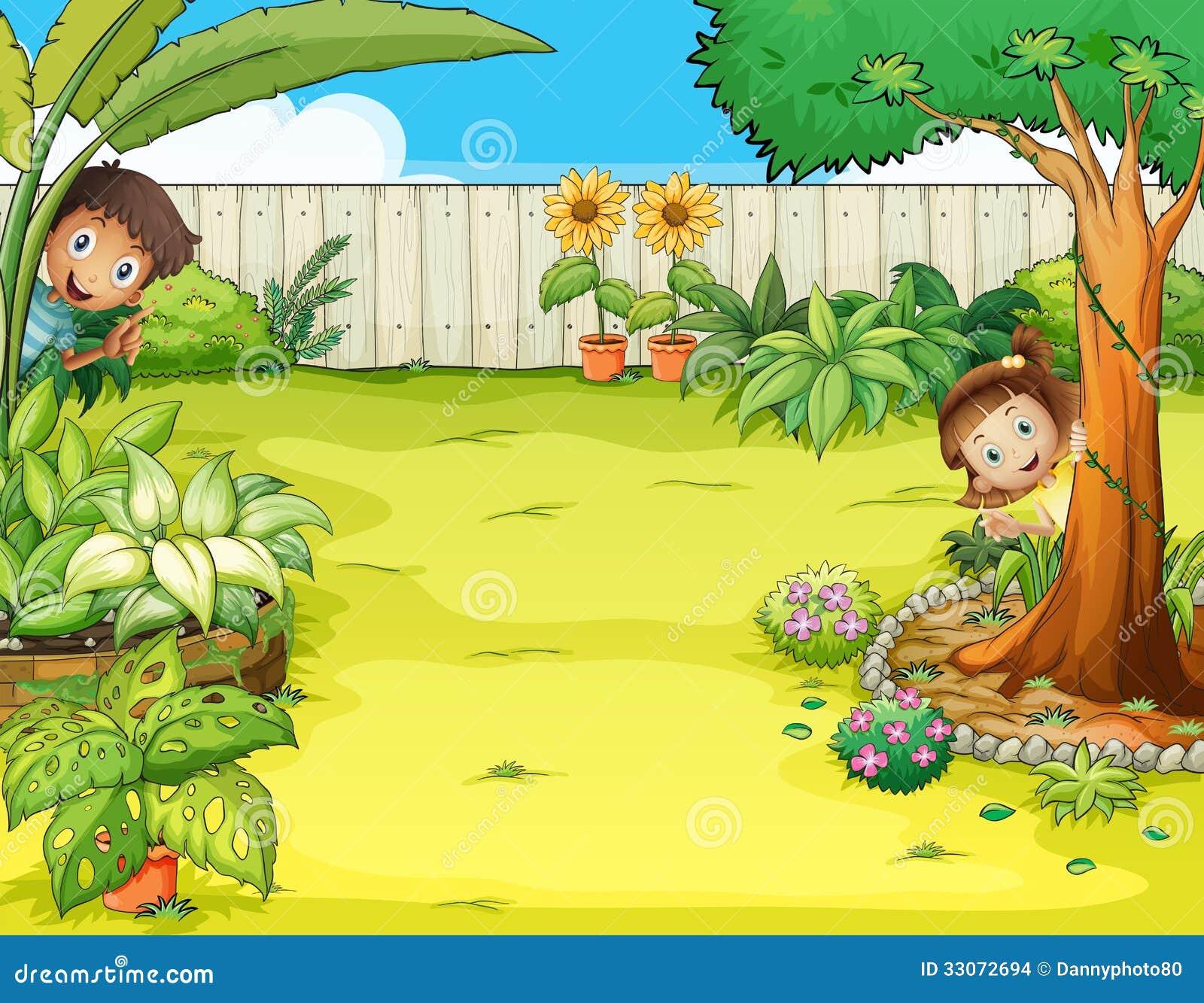 a boy and a girl hiding in the garden stock vector