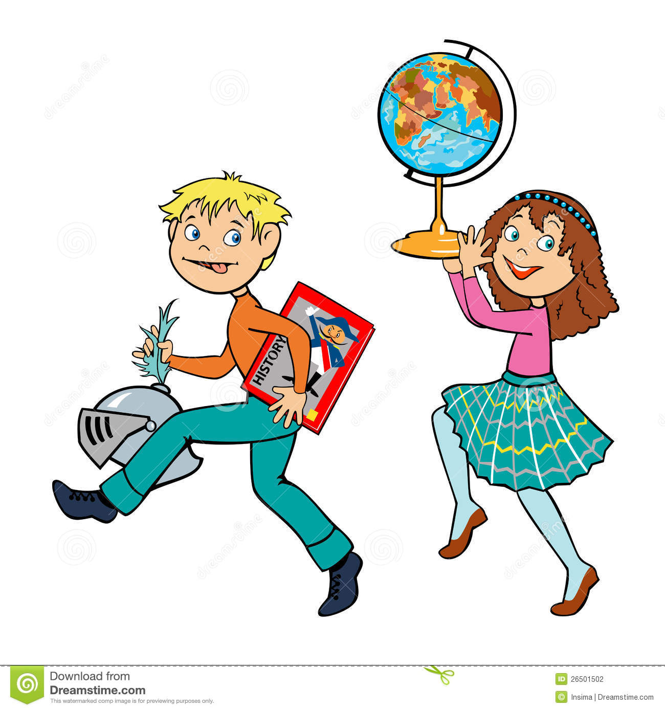 Boy And Girl History Lesson Stock Photography - Image: 26501502