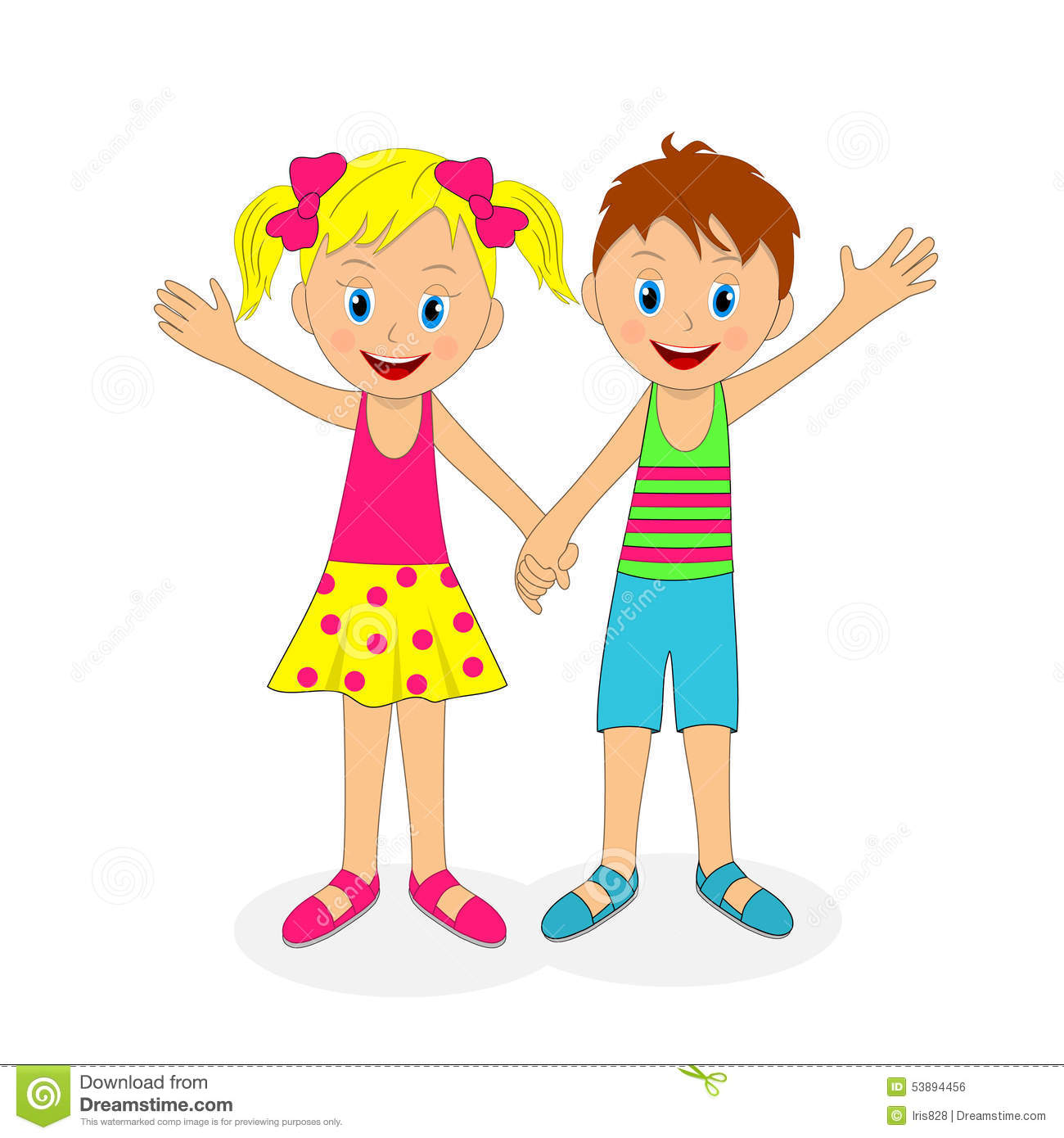 boy and girl holding hands and waving their hand stock vector