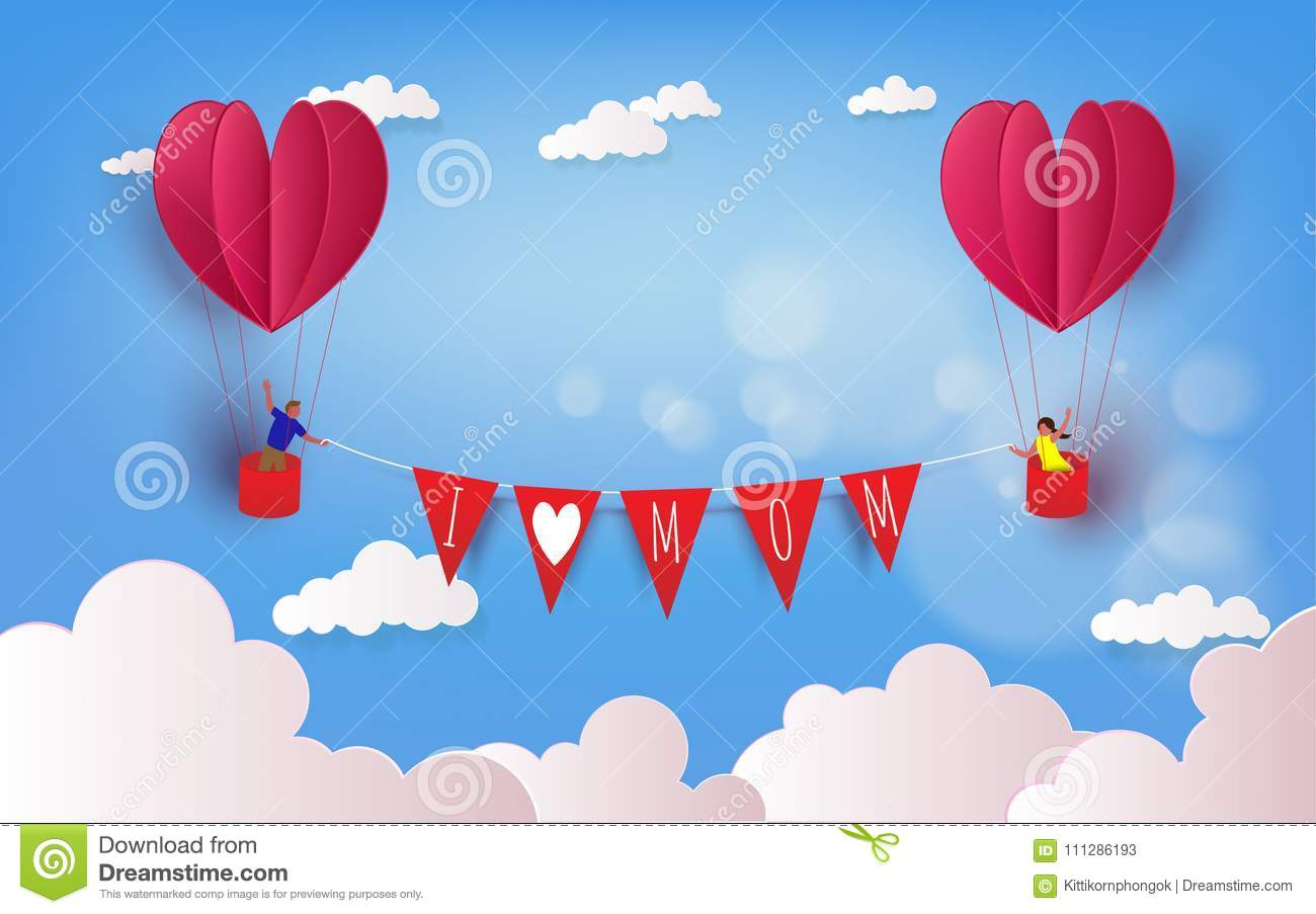 Boy And Girl In A Hot Air Balloon On Summer Holidays Love