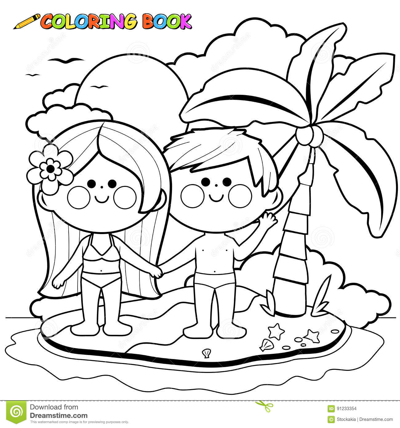 Boy And Girl On An Island. Black And White Coloring Book Page Stock ...