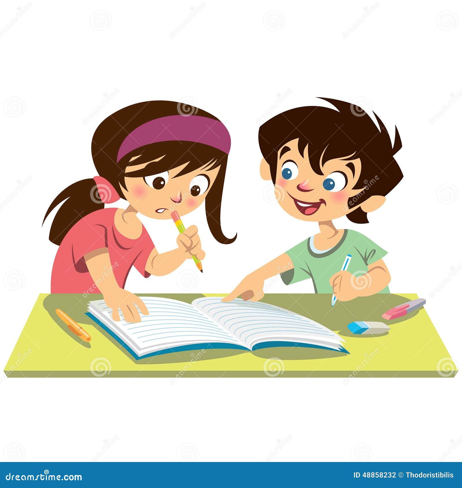 Boy seduces girl while studying