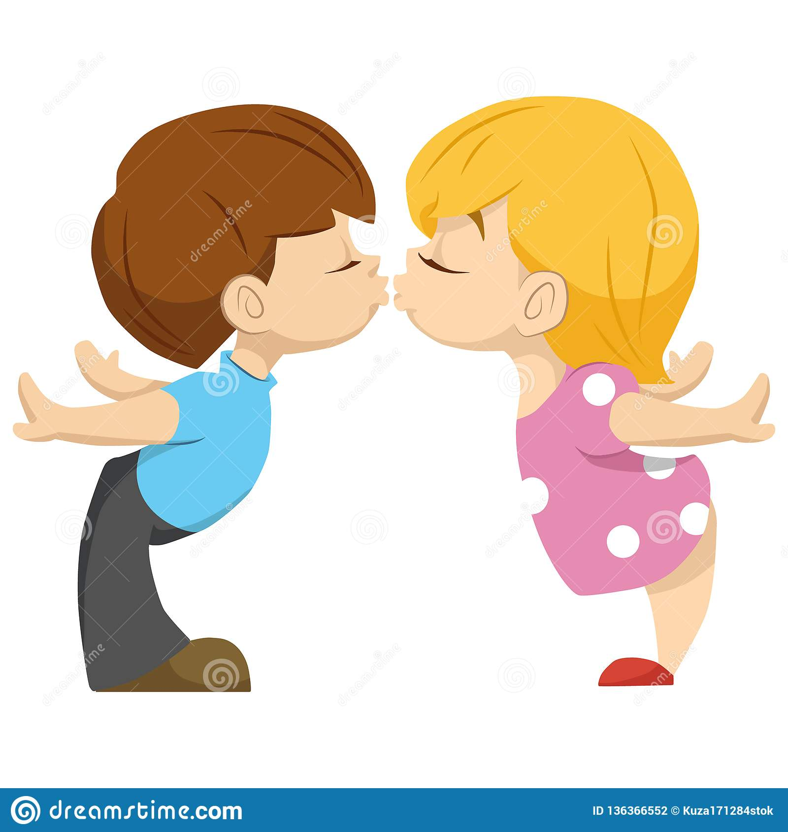 Cute Couple Of Kids The Boy Kisses The Girl Valentika Stock Vector
