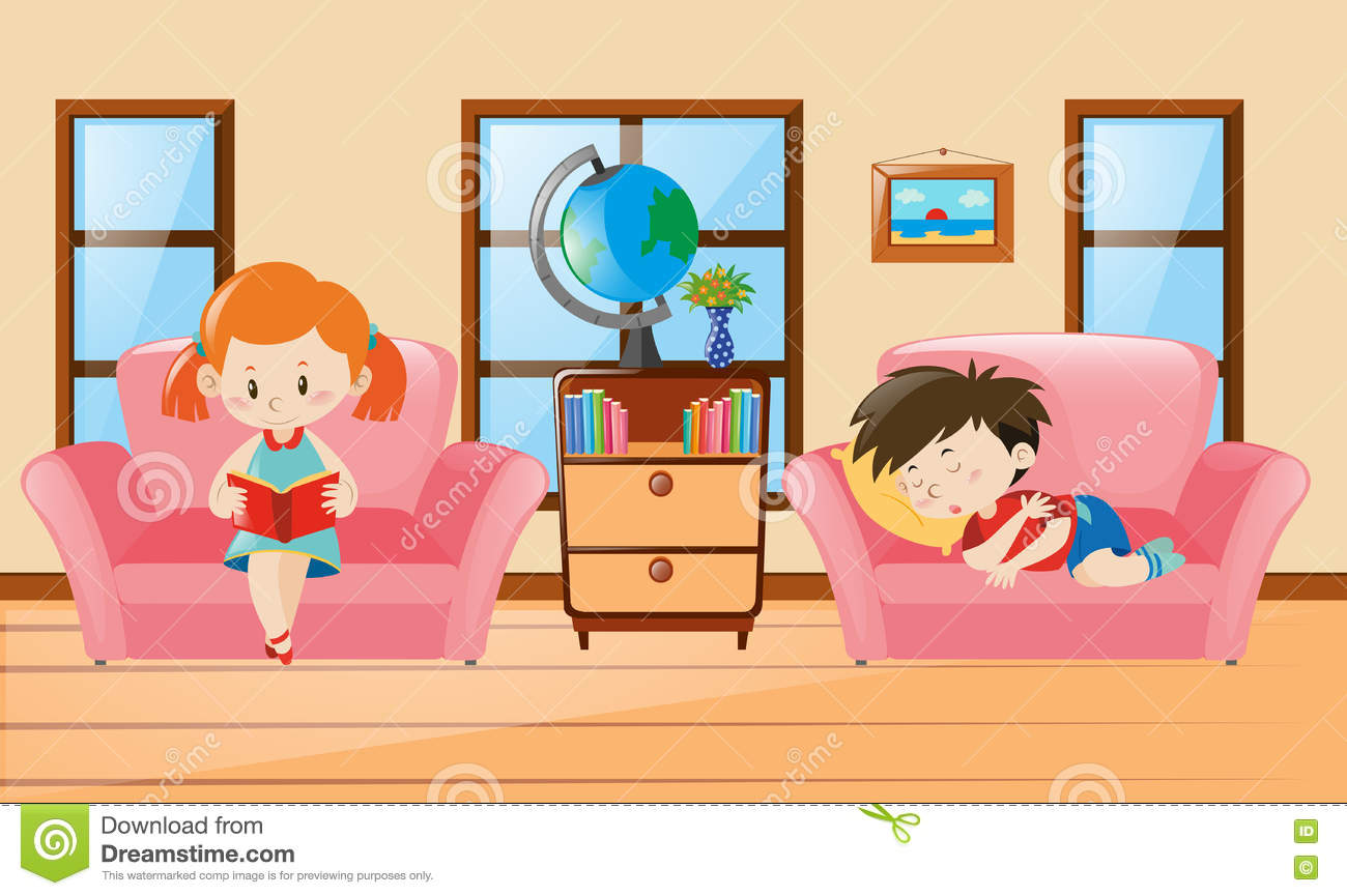Boy and girl in living room stock vector illustration of for Boy and girl room