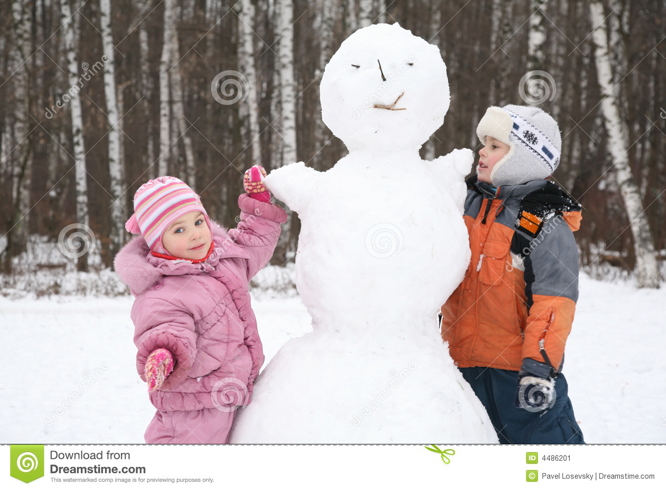 Boy and girl make snowman stock image image of february for How to make a snowman